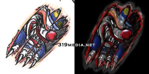 Evil Clown Tattoo - then and now
